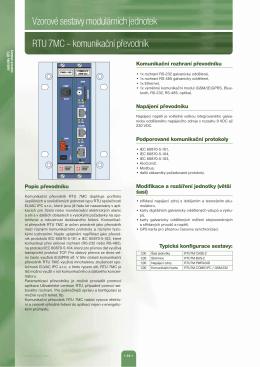 Vzorové sestavy modulárních jednotek RTU 7MC
