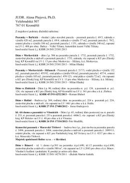 JUDR. Alena Pšejová, Ph.D. Velehradská 507 767 01 Kroměříž