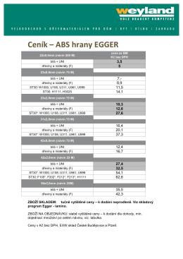 Ceník – ABS hrany EGGER