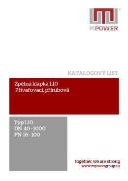 Typ L10 DN 40 - 1000 PN 16 - 100 Zpětná klapka L10