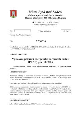 (PENB) pro rok 2015 - Město Lysá nad Labem