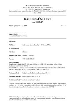 kalibračním listu - Kalibrační laboratoř Zindler