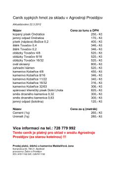 Kompletní ceník - PÍSEK a KAMENIVO