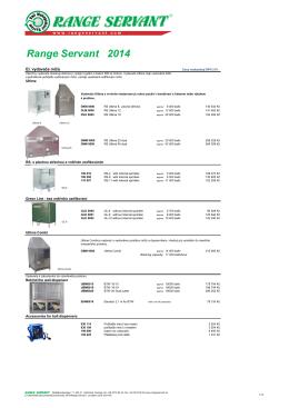 Prodejní ceník Range Servant 2014