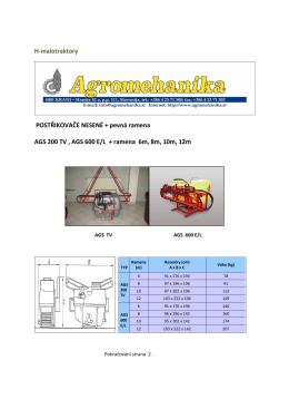 H-malotraktory POSTŘIKOVAČE NESENÉ + pevná ramena AGS