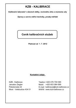 KZB-Kalibrace sro