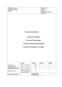 Laboratorní příručka Laboratoř biochemie Laboratoř