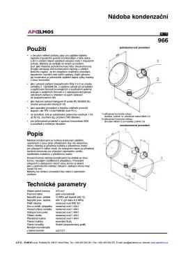Použití Popis Technické parametry Nádoba kondenzační 966