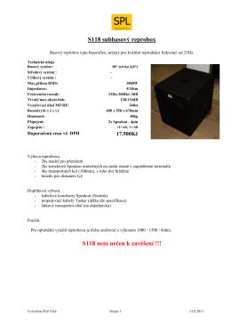 S118 subbasový reprobox S118 není určen k