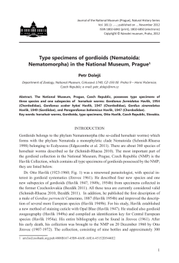 Type specimens of gordioids (Nematoida: Nematomorpha) in the