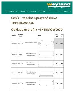Ceník – tepelně upravené dřevo THERMOWOOD Obkladové profily