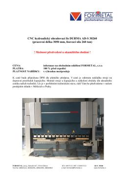 CNC hydraulický ohraňovací lis DURMA AD-S 30260