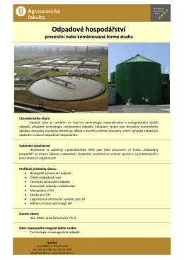 Technologie odpadů - Ústav zemědělské, potravinářské a