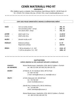 Ceník materiálů pro RT a kontakty na výrobce