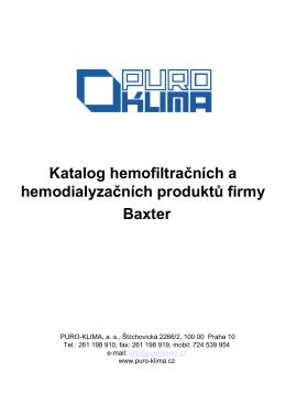 Katalog hemofiltračních a hemodialyzačních - Puro