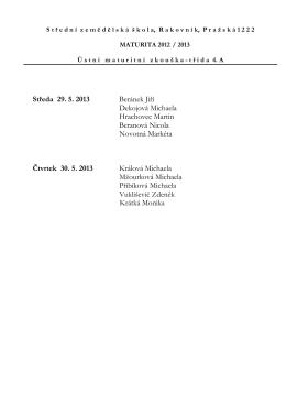 Středa 29. 5. 2013 Beránek Jiří Dekojová Michaela Hrachovec