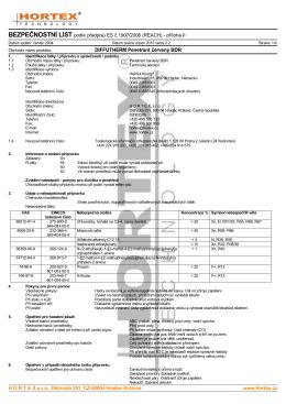 BEZPEČNOSTNÍ LIST podle předpisů ES č.1907/2006