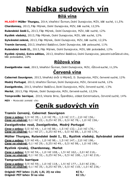 Sudová vína, nealko a jídelníček PDF
