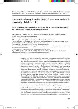 Biodiverzita cévnatých rostlin, lišejníků, sinic a