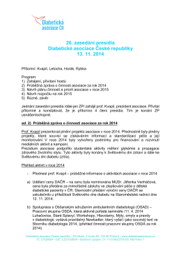 26. zasedání presidia Diabetické asociace České republiky 13. 11