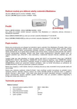 Radiové moduly pro dálkové odečty vodoměrů Maddalena Použití