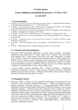 Výroční zpráva ÚDMP za rok 2013 - Ústav dědičných metabolických