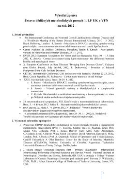 Výroční zpráva ÚDMP za rok 2012 - Ústav dědičných metabolických