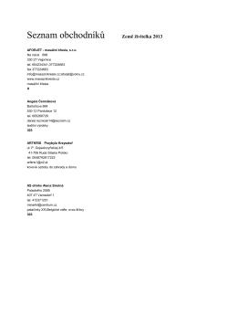 Seznam obchodníků - katalog - Výstaviště České Budějovice as
