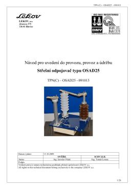 Návod pro uvedení do provozu, provoz a údržbu Střešní odpojovač