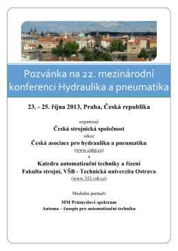 Pozvánka na 22. mezinárodní konferenci Hydraulika a pneumatika