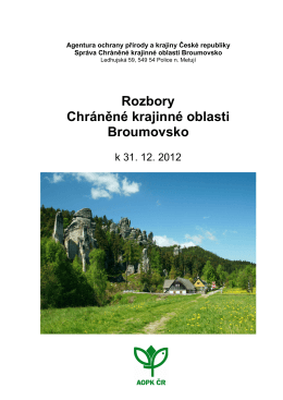 Rozborová část - Správa CHKO Broumovsko
