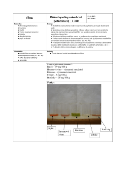 ÉČKA Důkaz kyseliny askorbové (vitamínu C) – E 300
