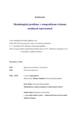 Program konferencie - Ústav etnológie SAV