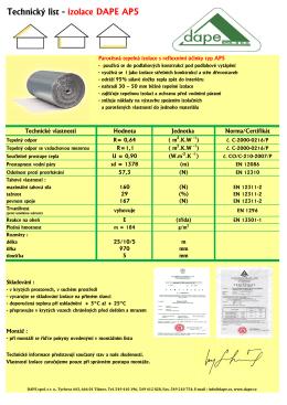 Technický list - izolace DAPE AP5