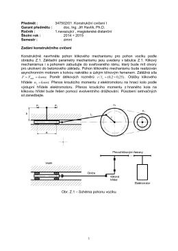 Konstrukční cvičení I. - zadání doc. Havlík
