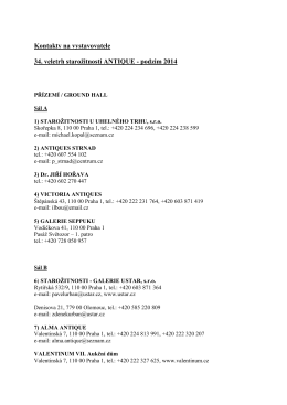 Kontakty na vystavovatele – veletrh ANTIQUE – podzim 2014