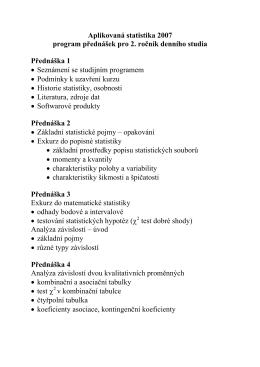 Aplikovaná statistika 2007 program přednášek pro 2. ročník denního