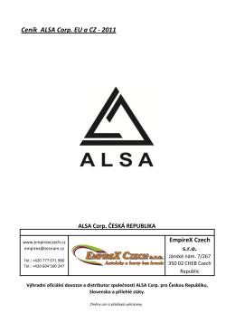 Ceník ALSA Corp. EU a CZ - 2011
