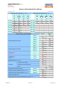 Ceník revizních a čistících šachet Ø 315 a 400 - SOP
