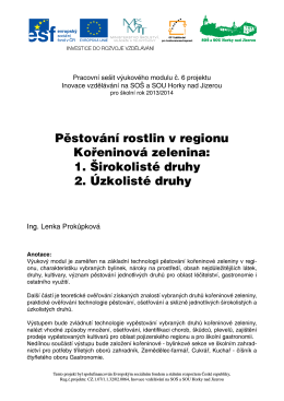 Pěstování rostlin v regionu Kořeninová zelenina: 1