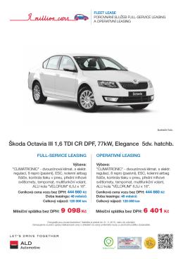 Škoda Octavia III 1,6 TDI CR DPF, 77kW, Elegance 5dv. hatchb.