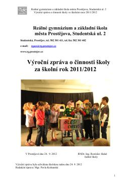 Výroční zpráva 2011/2012 - Reálné gymnázium a základní škola