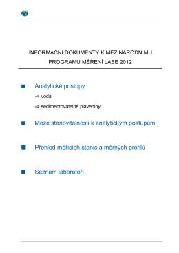 Analytické postupy Meze stanovitelnosti k analytickým postupům