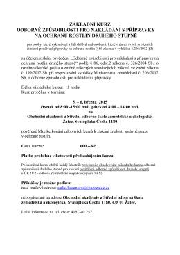kurz odborné způsobilosti pro nakládání s přípravky na ochranu