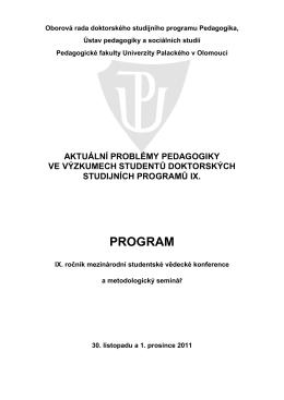 program konference a metodologického semináře