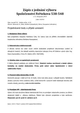 Informace z jednání výboru - Společenství Feřtekova 538-548