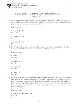 KMI/YPP1 Paradigmata programování 1 úkol c. 2