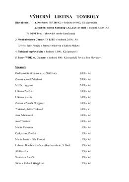 seznam sponzorů