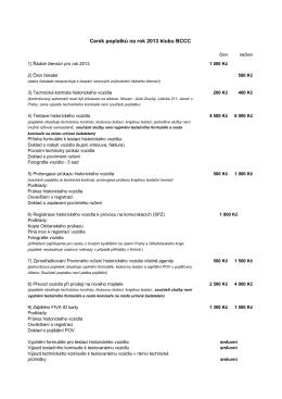 Ceník poplatků na rok 2013 klubu BCCC