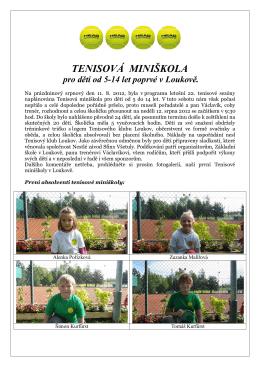 TENISOVÁ MINIŠKOLA pro děti od 5